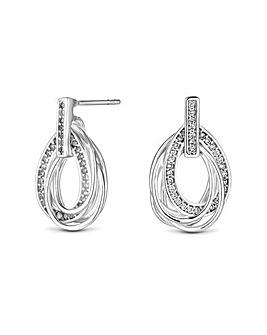 Sterling Silver 925 Cubic Zirconia Multi Oval Link Earrings