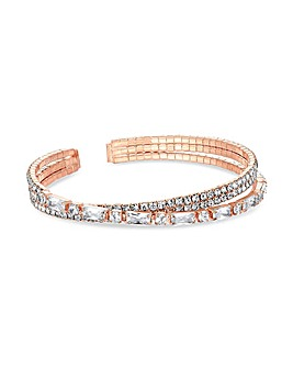 Rose Gold Plated Crystal Cuff Bracelet