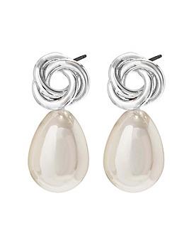 Jon Richard Polished Knot Pearl Earrings