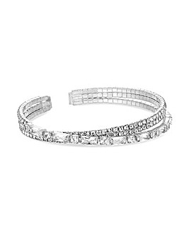 Silver Plated Crystal Cuff Bracelet