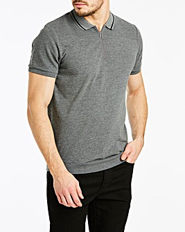 Rib Zip Neck Grey Polo L