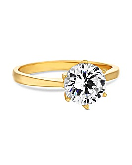 12ct Gold Plated Sterling Silver 925 Round Solitaire Sized Ring