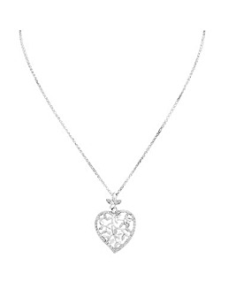 Sterling Silver 925 Cubic Zirconia Tree Of Life Heart Pendant Necklace