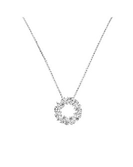 Sterling Silver 925 Cubic Zirconia Marquise Cluster Open Pendant Necklace
