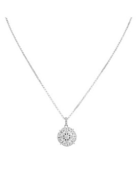 Sterling Silver 925 Cubic Zirconia Fancy Round Pendant Necklace