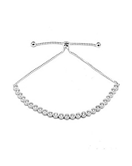 Sterling Silver 925 Cubic Zirconia Halo Toggle Bracelet