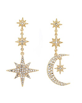 Gold Plated Mix And Match Stars And Moon Drop Earrings