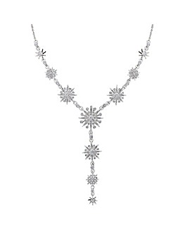 Silver Plated Crystal Celestial Starburst Y Shape Necklace