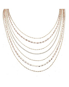 Rose Gold Plated Crystal Multi Row Diamante Necklace