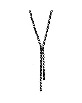 Black Plated Jet Crystal Diamante Lariat Necklace