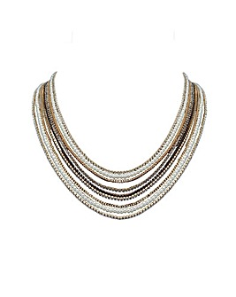 Gold Plated Multi Row Jet And Grey Crystal Diamante Necklace