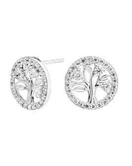 Sterling Silver 925 Cubic Zircona Tree Of Life Stud Earrings
