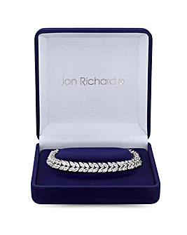 Silver Plated Cubic Zirconia Crystal Navette Leaf Bracelet - Gift Boxed