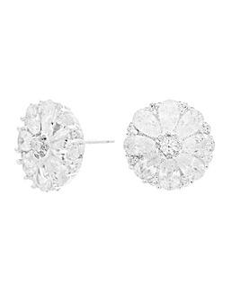 Sterling Silver 925 Cubic Zirconia Fancy Cluster Round Stud Earrings