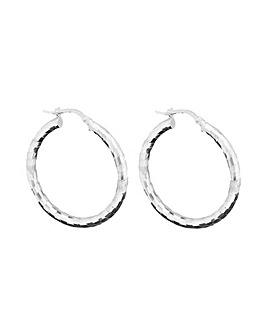 Sterling Silver 925 Polished Diamond Cut Hoop Earrings