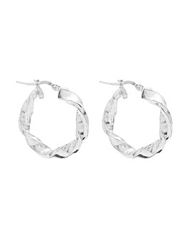 Sterling Silver 925 Polished Twist Hoop Earrings