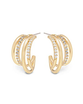Gold Plated Polished And Crystal Multi Row Hoop Earrings