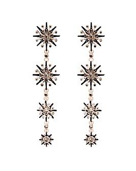 Rose Gold Plated Black Hematite Crystal Starburst Linear Drop Earrings