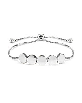 Silver Plated Polished Circle Toggle Bracelet