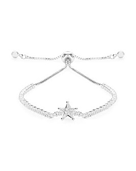 Silver Plated Crystal Star Toggle Bracelet