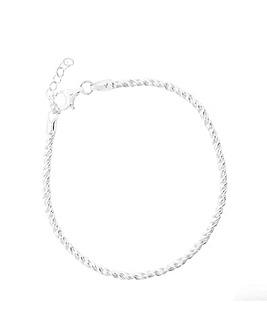 Sterling Silver 925 Polished Twist Rope Bracelet