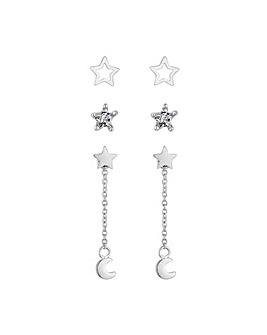 Sterling Silver 925 Shooting Star Drop Earrings - Pack Of 3