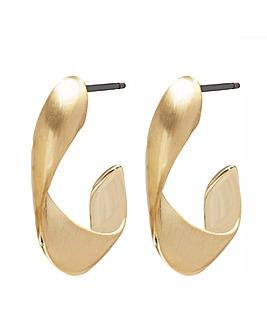 Gold Plated Satin Hoop Earrings