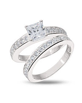 Sterling Silver Cubic Zirconia Two Piece Bridal Ring Set