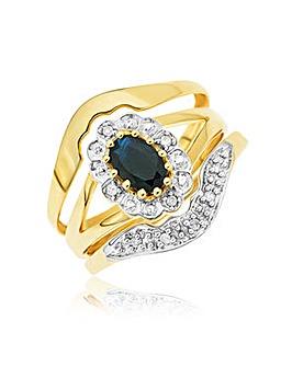 9ct Sapphire Diamond Bridal Ring Set
