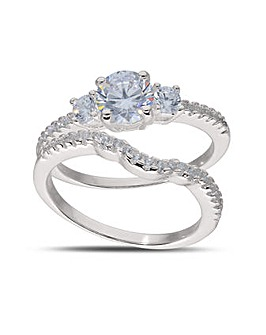 Sterling Silver Cubic Zirconia Two Piece Shaped Bridal Ring Set