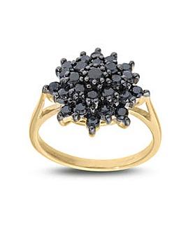 9ct Black Diamond Cluster Ring