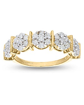9 Carat Gold 1CT Diamond Half Eternity Ring