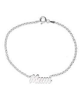 Sterling Silver Mum Bracelet On Belcher Style Chain