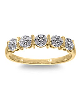 9 Carat Gold 1/4 Carat Diamond Half Eternity Ring