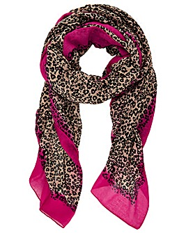 Monsoon ANIMAL PINK BORDER SCARF