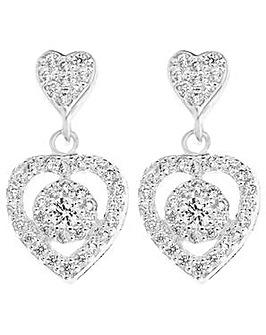 Sterling Silver Cubic Zirconia Cluster Heart Drop Earring