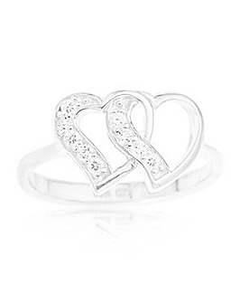 Sterling Silver Cubic Zirconia Interlocking Double Heart Ring