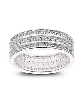 Sterling Silver Cubic Zirconia Full Eternity Band Ring