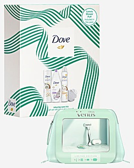 Dove Relaxing Trio and Venus Platinum Travel Bag Gift Sets
