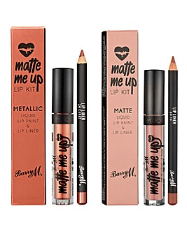 Barry M Matte Me Up Lip Kits - Go To Matte and 24 Carat Metallic