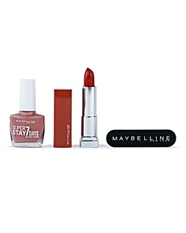 Maybelline Nude or Never Nude Pink Nail Polish & Nude Mauve Lipstick Gift Set