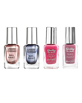 Barry M Gelly Hi Shine and Liquid Chrome Nail Polish Bundle