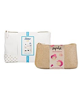 Impulse Beauty Bag & Dove Wash Bag Sets