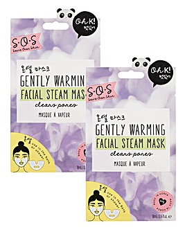 Oh K! SOS Gently Warming Facial Steam Masks x2