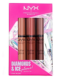 NYX Professional Makeup Diamonds & Ice Please Butter Gloss Lip Trio - Brown/Nude