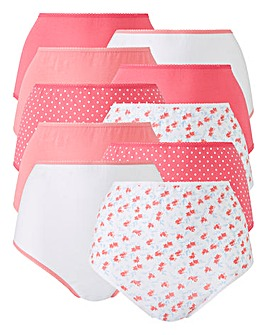 10 pack Pink Floral Full Fit Briefs