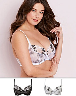 Pretty Secrets April 2 Pack Spring Floral Embroidered Black/White Full Cup Bras