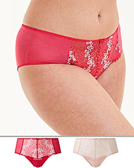 2Pk April Floral Embroidery Midi Briefs