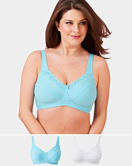 9cfdab045a96f 2 Pack Sarah Non Wired Aqua White Bras