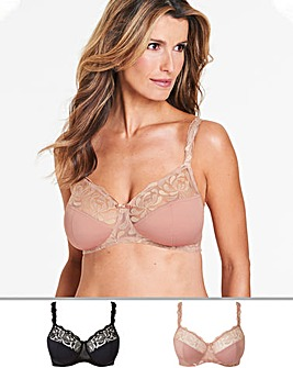 2 Pack Annabel Palm Emb Non Wired Bras